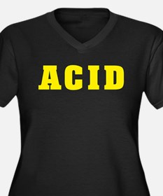 YELLOW ACID2 Women's Plus Size V-Neck Dark T-Shirt