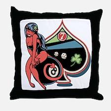 Lucky Devil Girl Throw Pillow