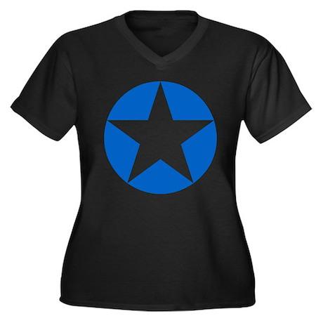 Blue Disc Star Women's Plus Size V-Neck Dark T-Shi