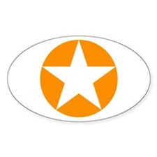 Orange Disc Star Oval Decal