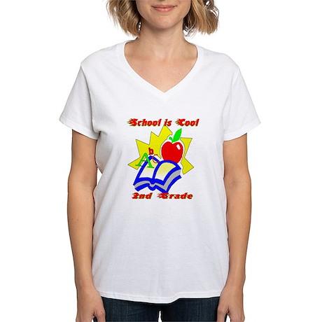 2nd Grade School is Cool Women's V-Neck T-Shirt