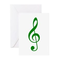 Green Clef Greeting Card