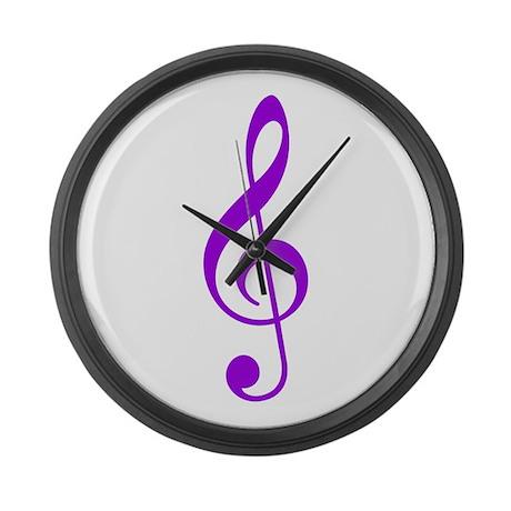 Purple Clef Large Wall Clock