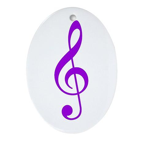Purple Clef Oval Ornament