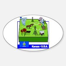 Kansas Map Oval Decal