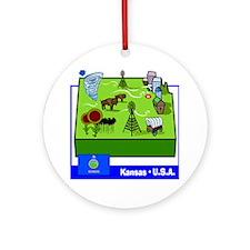 Kansas Map Ornament (Round)