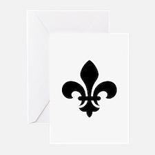 Black Fleur-de-Lys Greeting Cards (Pk of 10)