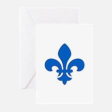 Blue Fleur-de-Lys Greeting Cards (Pk of 10)