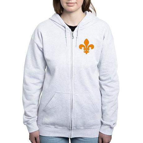 Orange Fleur-de-Lys Women's Zip Hoodie