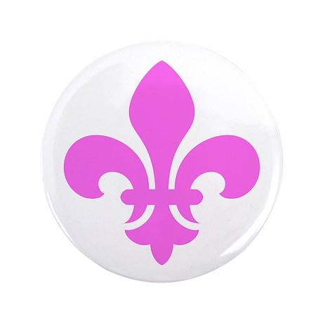 """Pink Fleur-de-Lys 3.5"""" Button (100 pack)"""