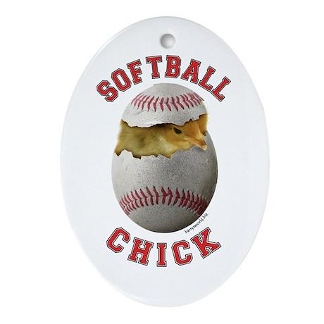 Softball Chick 2 Oval Ornament