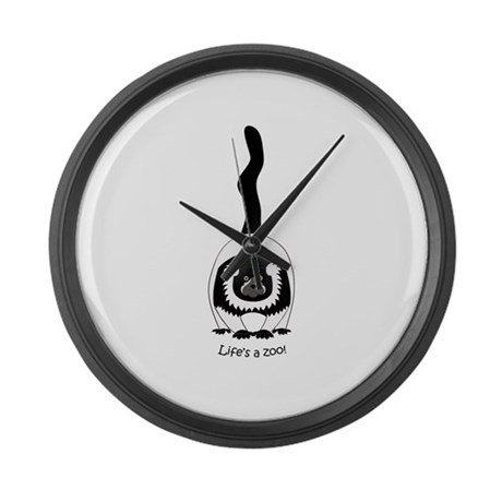 Black & White Ruffed Lemur Large Wall Clock