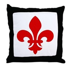 Red Fleur-de-Lys Throw Pillow