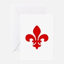 Red Fleur-de-Lys Greeting Card