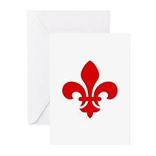 Red Fleur-de-Lys Greeting Cards (Pk of 20)