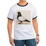 Black Whiteside Roller Pigeon Ringer T