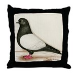 Black Whiteside Roller Pigeon Throw Pillow