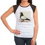 Black Whiteside Roller Pigeon Women's Cap Sleeve T