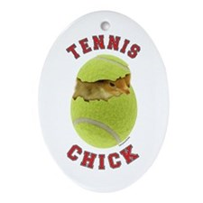 Tennis Chick 2 Oval Ornament