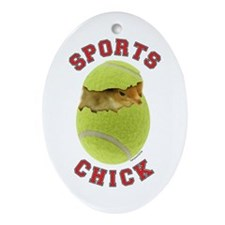 Tennis Chick 3 Oval Ornament