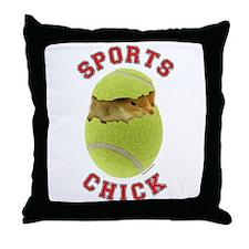 Tennis Chick 3 Throw Pillow