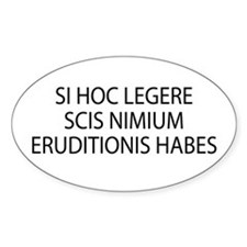 Si hoc legere latin Oval Decal