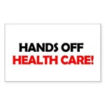 Hands Off Health Care Rectangle Sticker 50 pk)