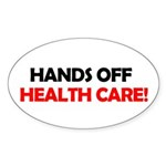 Hands Off Health Care Oval Sticker