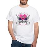 Wine Girl Heart White T-Shirt