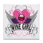Wine Girl Heart Tile Coaster