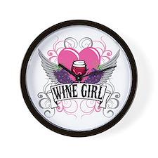 Wine Girl Heart Wall Clock