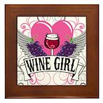Wine Girl Heart Framed Tile