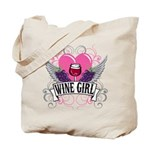 Wine Girl Heart Tote Bag