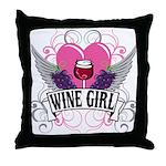 Wine Girl Heart Throw Pillow