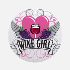 Wine Girl Heart Ornament (Round)