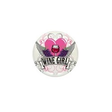 Wine Girl Heart Mini Button