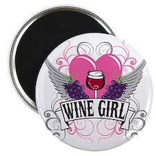 Wine Girl Heart Magnet