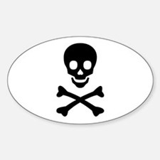 Black Skull X-Bones Oval Decal