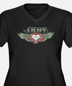 Army Wife Clothes Women's Plus Size V-Neck Dark T-