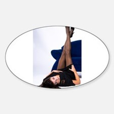 Attractive Girl Oval Decal