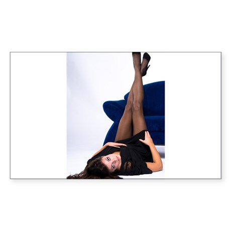 Attractive Girl Rectangle Sticker