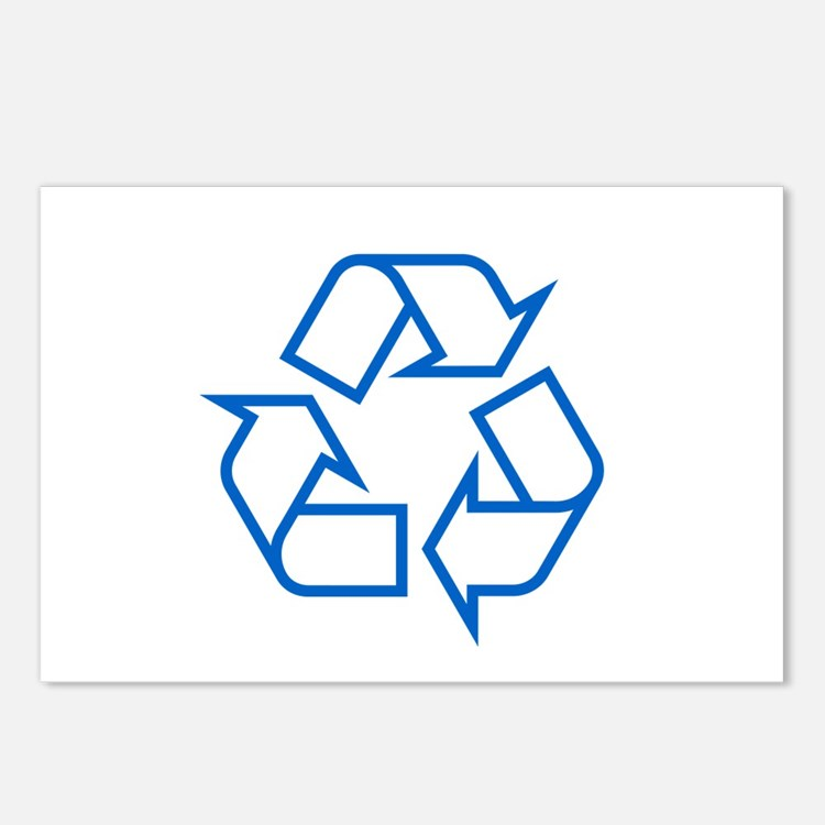 Blue Recycle Postcards (Package of 8)
