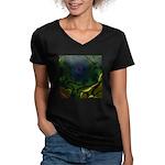 Japan Fractal Women's V-Neck Dark T-Shirt