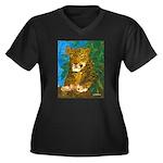 Leopard Tree Women's Plus Size V-Neck Dark T-Shirt
