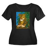 Leopard Tree Women's Plus Size Scoop Neck Dark T-S