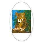 Leopard Tree Oval Sticker