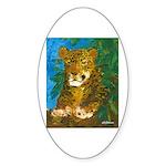 Leopard Tree Oval Sticker (10 pk)