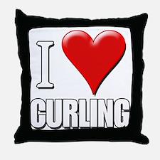 I Love (Heart) Curling Throw Pillow