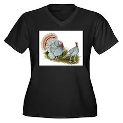 Lilac Turkeys Women's Plus Size V-Neck Dark T-Shir