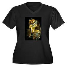 Egypt Pharao Mask Women's Plus Size V-Neck Dark T-